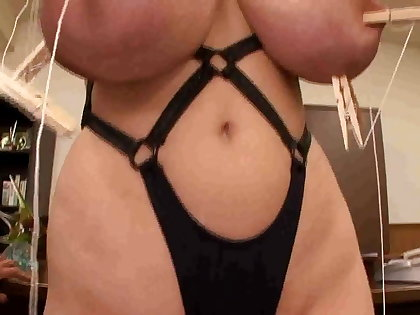 Asian japanese with monster big tits having nipples smashed