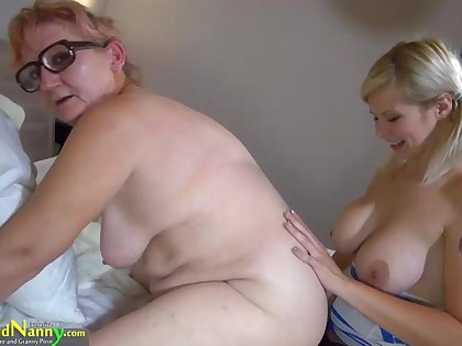 Teen big girl fucks hard old granny with strapon