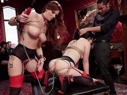 Grown up gags and clamps obedient slave main for dirty femdom