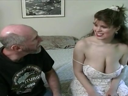 Tessa with a old fart - heavy mammaries