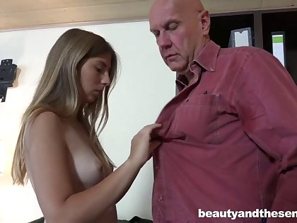 Old dude gives his secretary a raise if she rides his hard cock