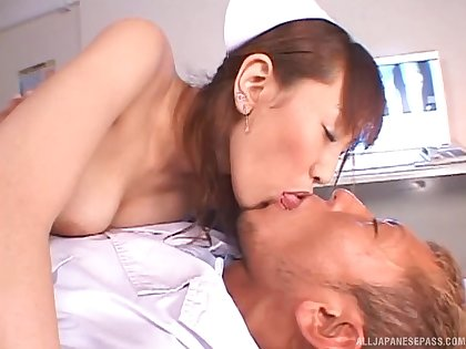 Nurse drops her uniform to ride her patient's large manhood
