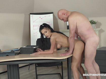 Crazy sex at the office with the older boss