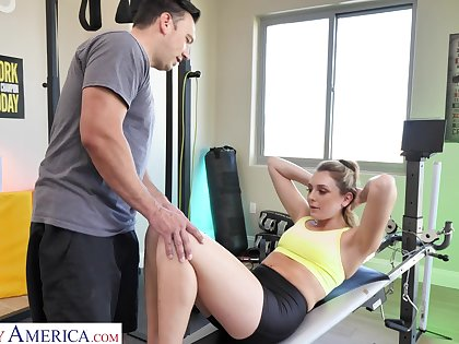 Naughty wife Charlotte Sins is cheating aloft her husband apropos a personal coach